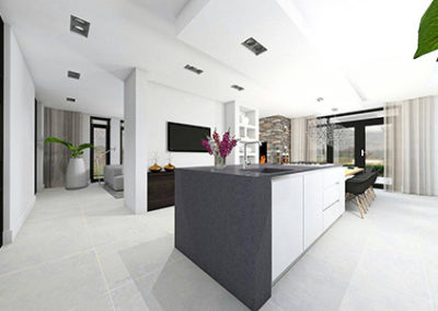 3D impressie keuken nieuwbouwhuis volledig verzorgd